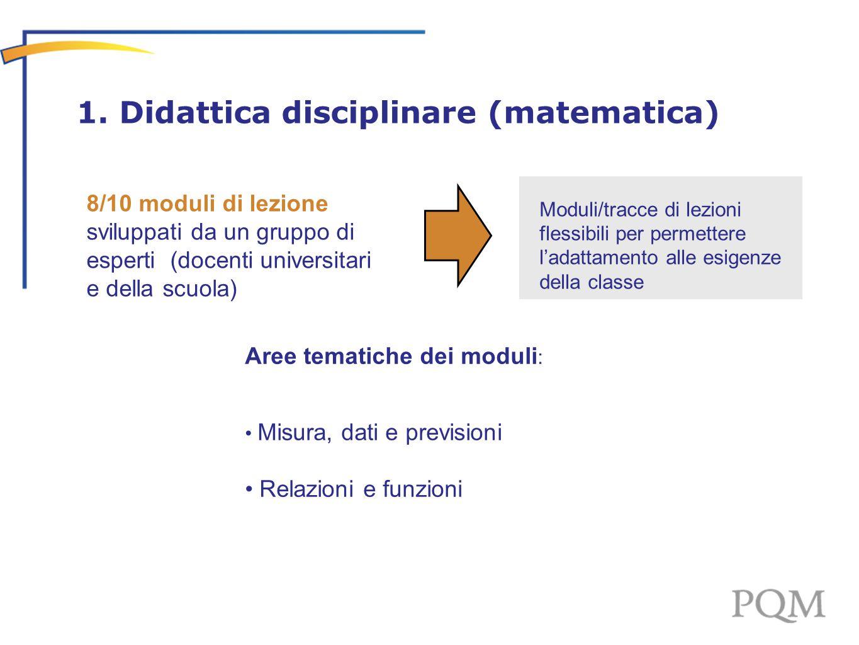 Aree tematiche dei moduli : Misura, dati e previsioni Relazioni e funzioni 1. Didattica disciplinare (matematica) Moduli/tracce di lezioni flessibili