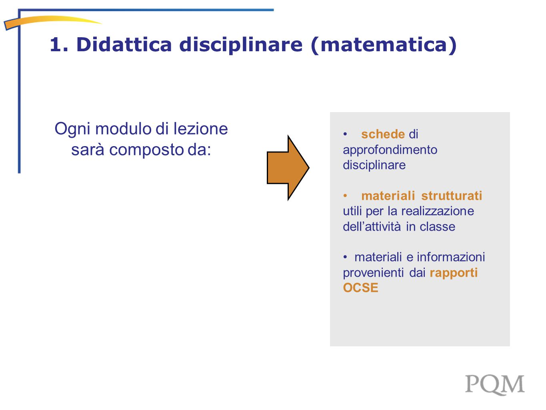 Ogni modulo di lezione sarà composto da: schede di approfondimento disciplinare materiali strutturati utili per la realizzazione dell'attività in clas