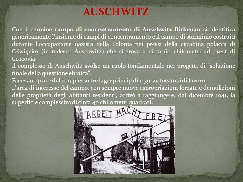 AUSCHWITZ Con il termine campo di concentramento di Auschwitz Birkenau si identifica genericamente l'insieme di campi di concentramento e il campo di