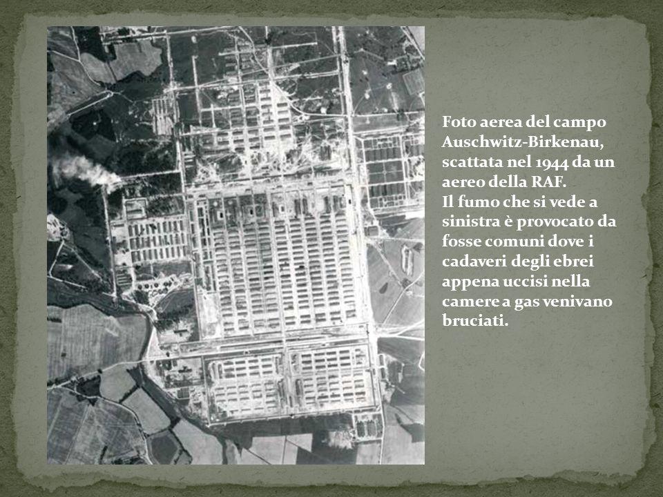 Foto aerea del campo Auschwitz-Birkenau, scattata nel 1944 da un aereo della RAF. Il fumo che si vede a sinistra è provocato da fosse comuni dove i ca