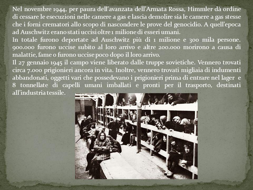 Nel novembre 1944, per paura dell'avanzata dell'Armata Rossa, Himmler dà ordine di cessare le esecuzioni nelle camere a gas e lascia demolire sia le c