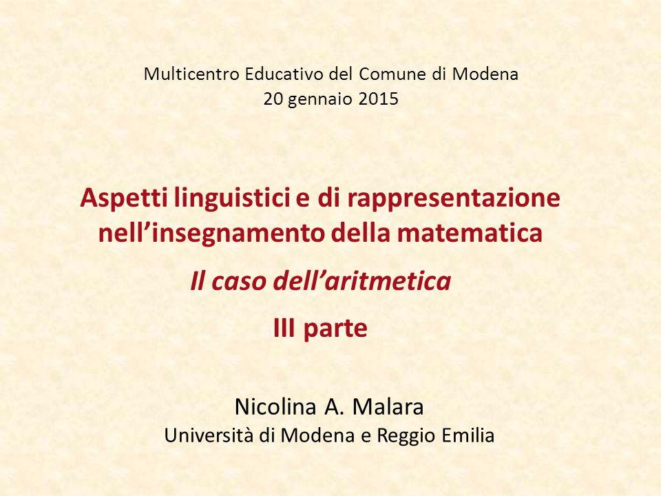 Multicentro Educativo del Comune di Modena 20 gennaio 2015 Nicolina A. Malara Università di Modena e Reggio Emilia Aspetti linguistici e di rappresent
