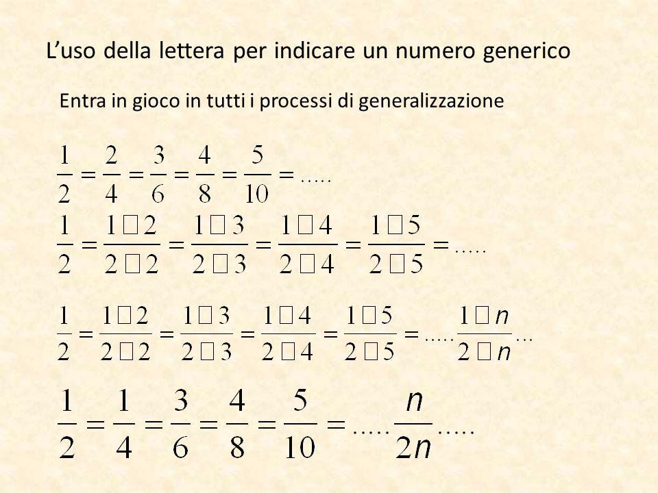 Entra in gioco in tutti i processi di generalizzazione L'uso della lettera per indicare un numero generico