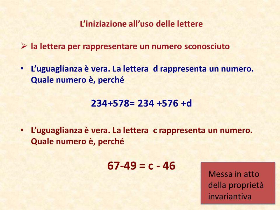 L'iniziazione all'uso delle lettere  la lettera per rappresentare un numero sconosciuto L'uguaglianza è vera. La lettera d rappresenta un numero. Qua