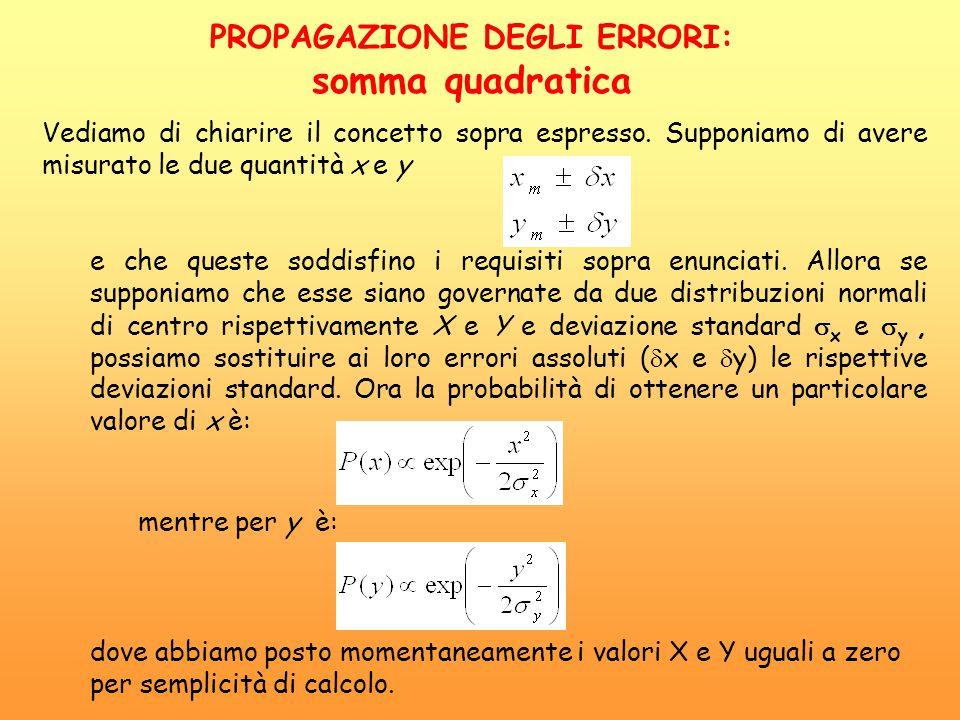 Vediamo di chiarire il concetto sopra espresso. Supponiamo di avere misurato le due quantità x e y e che queste soddisfino i requisiti sopra enunciati