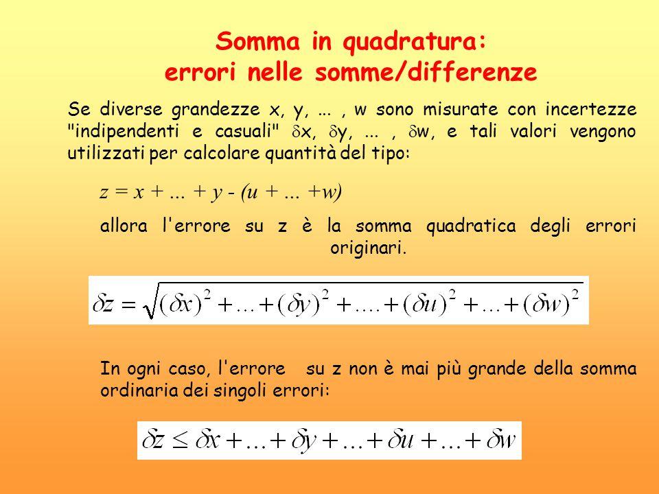 Somma in quadratura: errori nelle somme/differenze Se diverse grandezze x, y,..., w sono misurate con incertezze