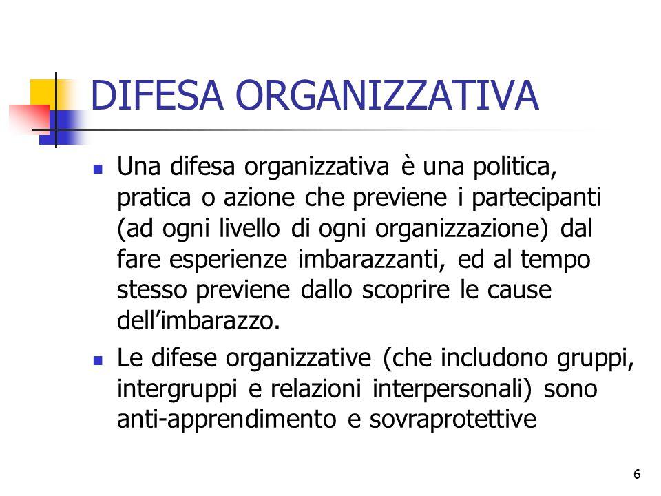 6 DIFESA ORGANIZZATIVA Una difesa organizzativa è una politica, pratica o azione che previene i partecipanti (ad ogni livello di ogni organizzazione)