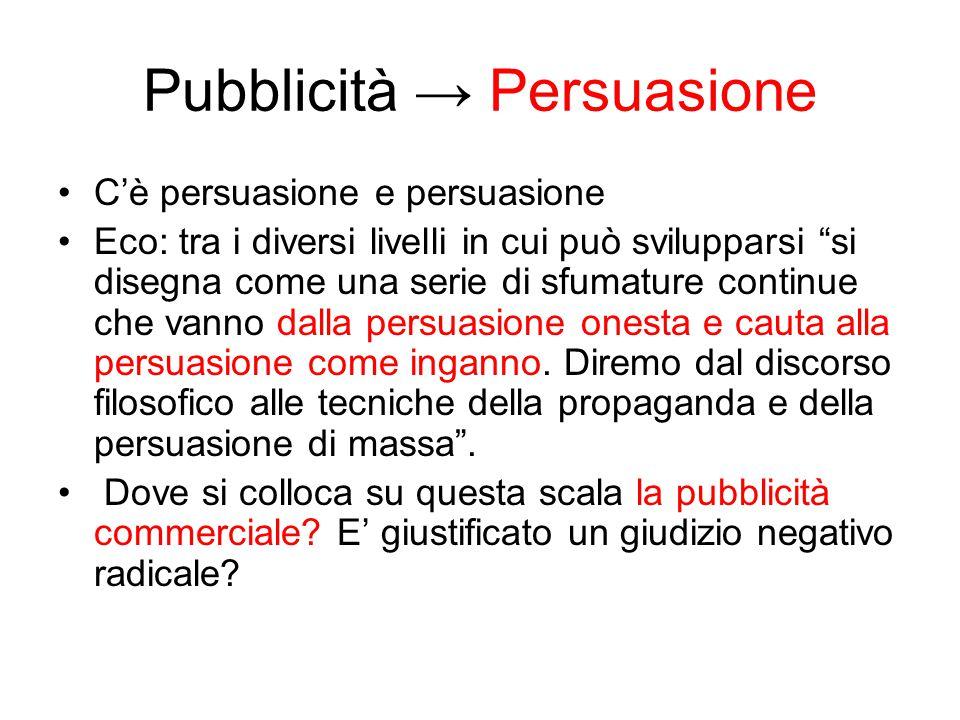 Pubblicità → Persuasione C'è persuasione e persuasione Eco: tra i diversi livelli in cui può svilupparsi si disegna come una serie di sfumature continue che vanno dalla persuasione onesta e cauta alla persuasione come inganno.