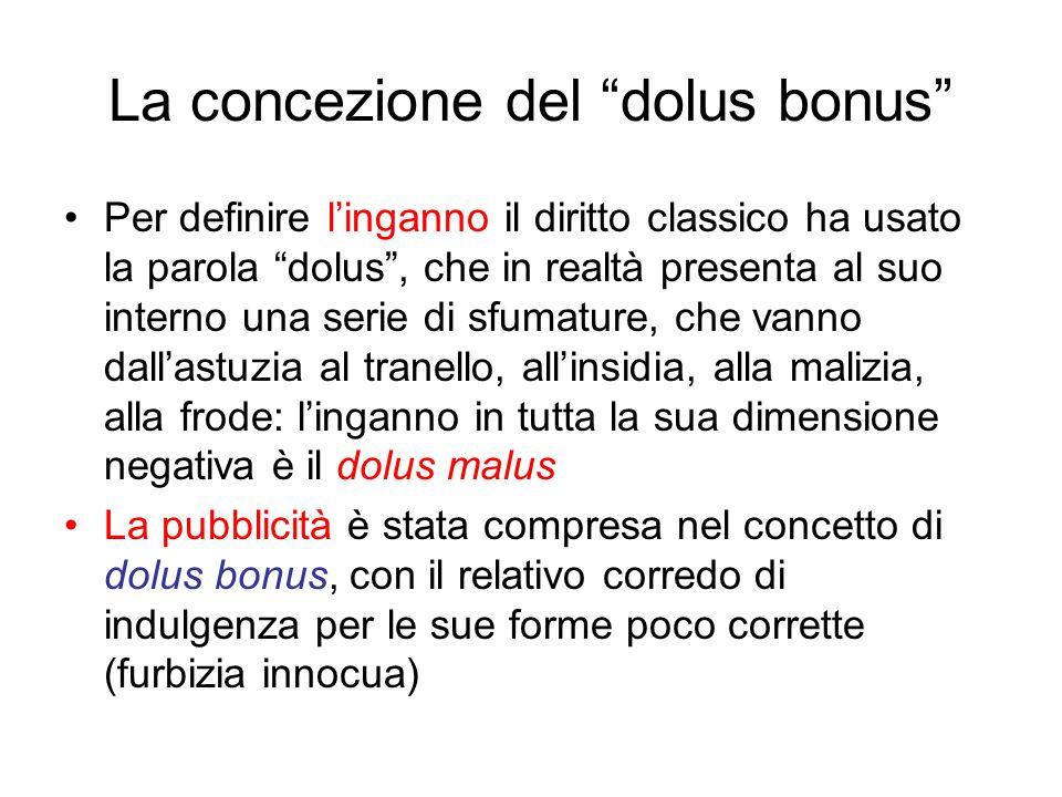 La concezione del dolus bonus Per definire l'inganno il diritto classico ha usato la parola dolus , che in realtà presenta al suo interno una serie di sfumature, che vanno dall'astuzia al tranello, all'insidia, alla malizia, alla frode: l'inganno in tutta la sua dimensione negativa è il dolus malus La pubblicità è stata compresa nel concetto di dolus bonus, con il relativo corredo di indulgenza per le sue forme poco corrette (furbizia innocua)