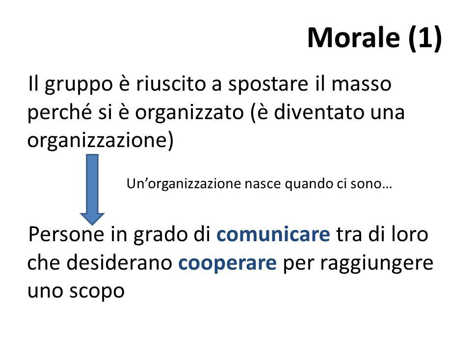 Morale (1) Il gruppo è riuscito a spostare il masso perché si è organizzato (è diventato una organizzazione) Persone in grado di comunicare tra di loro che desiderano cooperare per raggiungere uno scopo Un'organizzazione nasce quando ci sono…