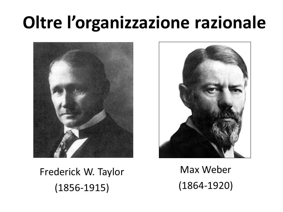 Oltre l'organizzazione razionale Frederick W. Taylor (1856-1915) Max Weber (1864-1920)
