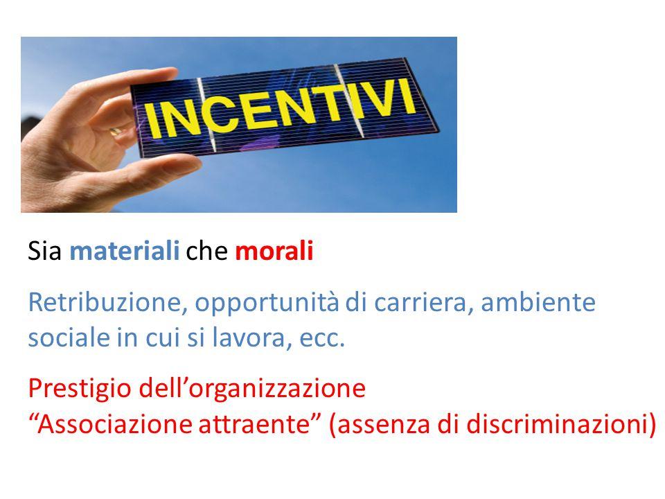 Sia materiali che morali Retribuzione, opportunità di carriera, ambiente sociale in cui si lavora, ecc.