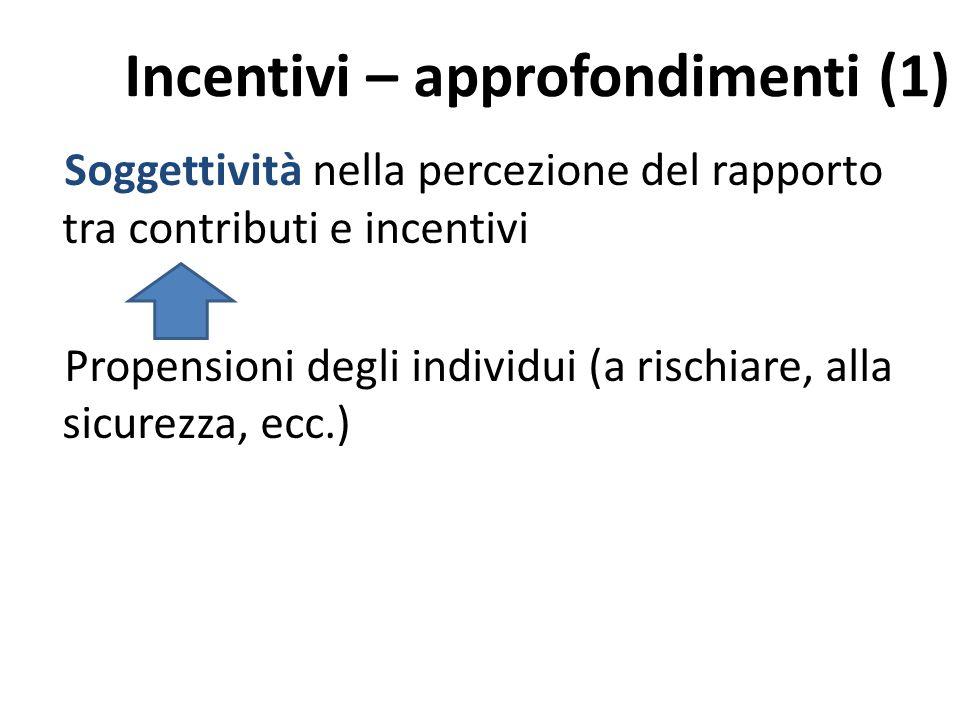 Incentivi – approfondimenti (1) Soggettività nella percezione del rapporto tra contributi e incentivi Propensioni degli individui (a rischiare, alla sicurezza, ecc.)