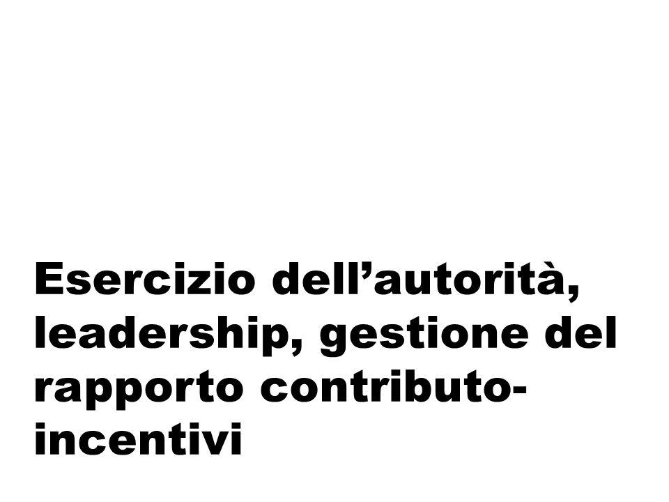 Esercizio dell'autorità, leadership, gestione del rapporto contributo- incentivi