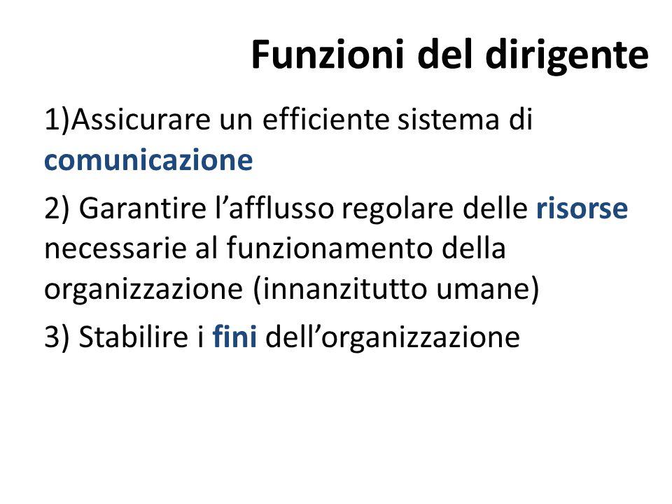 Funzioni del dirigente 1)Assicurare un efficiente sistema di comunicazione 2) Garantire l'afflusso regolare delle risorse necessarie al funzionamento della organizzazione (innanzitutto umane) 3) Stabilire i fini dell'organizzazione