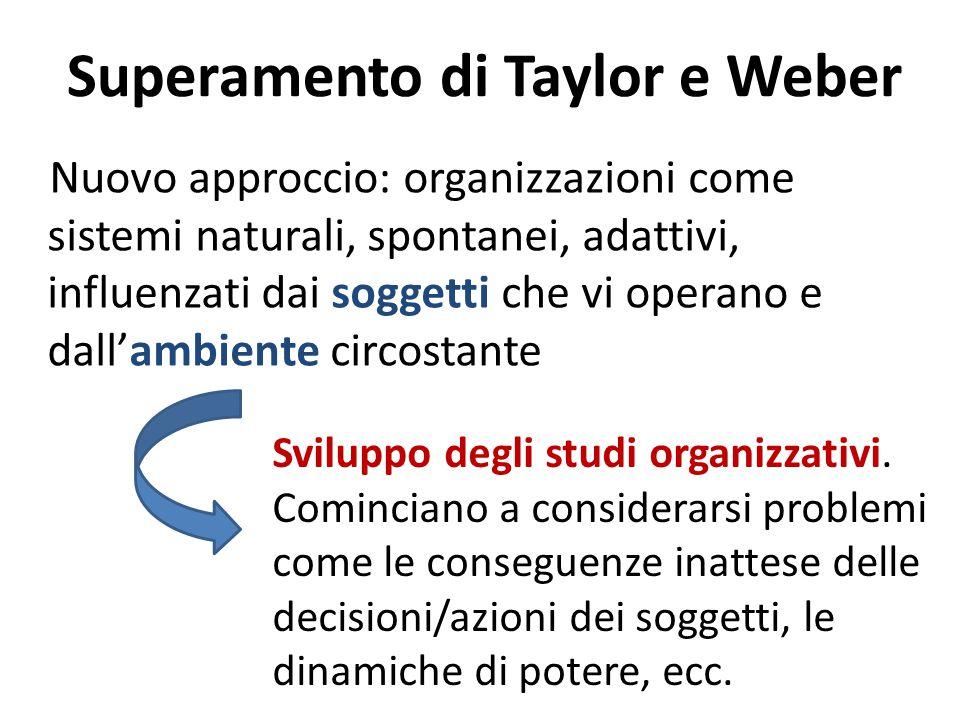 Superamento di Taylor e Weber Nuovo approccio: organizzazioni come sistemi naturali, spontanei, adattivi, influenzati dai soggetti che vi operano e dall'ambiente circostante Sviluppo degli studi organizzativi.