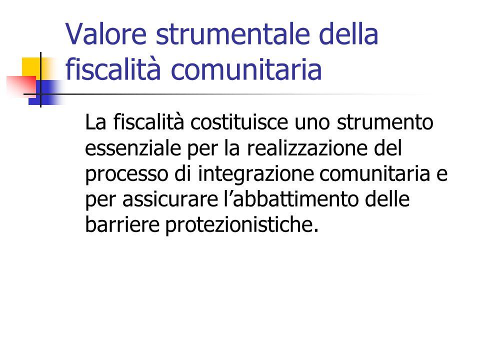 Valore strumentale della fiscalità comunitaria La fiscalità costituisce uno strumento essenziale per la realizzazione del processo di integrazione com