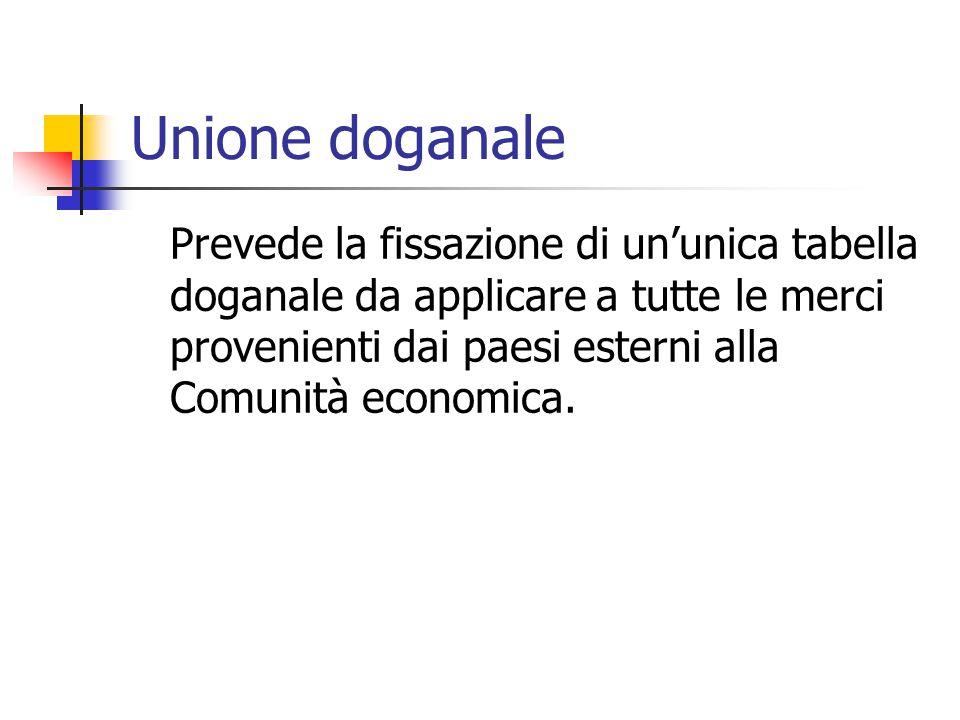 Unione doganale Prevede la fissazione di un'unica tabella doganale da applicare a tutte le merci provenienti dai paesi esterni alla Comunità economica