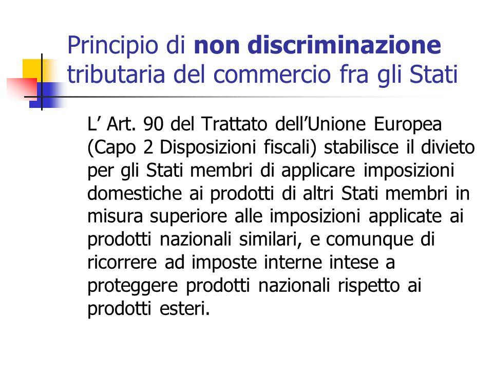 Principio di non discriminazione tributaria del commercio fra gli Stati L' Art. 90 del Trattato dell'Unione Europea (Capo 2 Disposizioni fiscali) stab