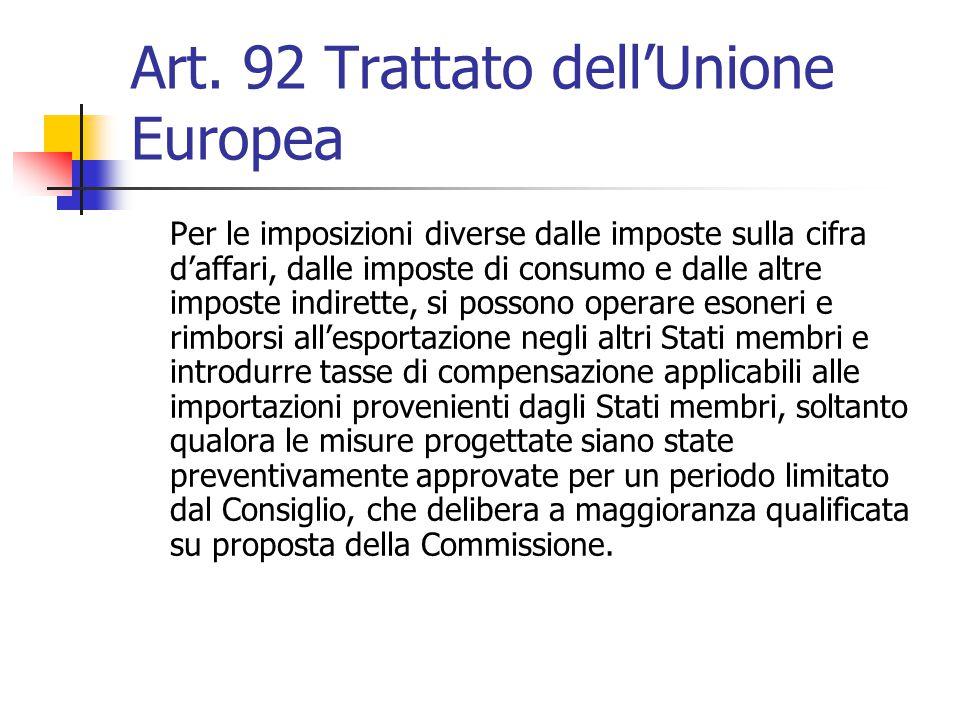 Art. 92 Trattato dell'Unione Europea Per le imposizioni diverse dalle imposte sulla cifra d'affari, dalle imposte di consumo e dalle altre imposte ind