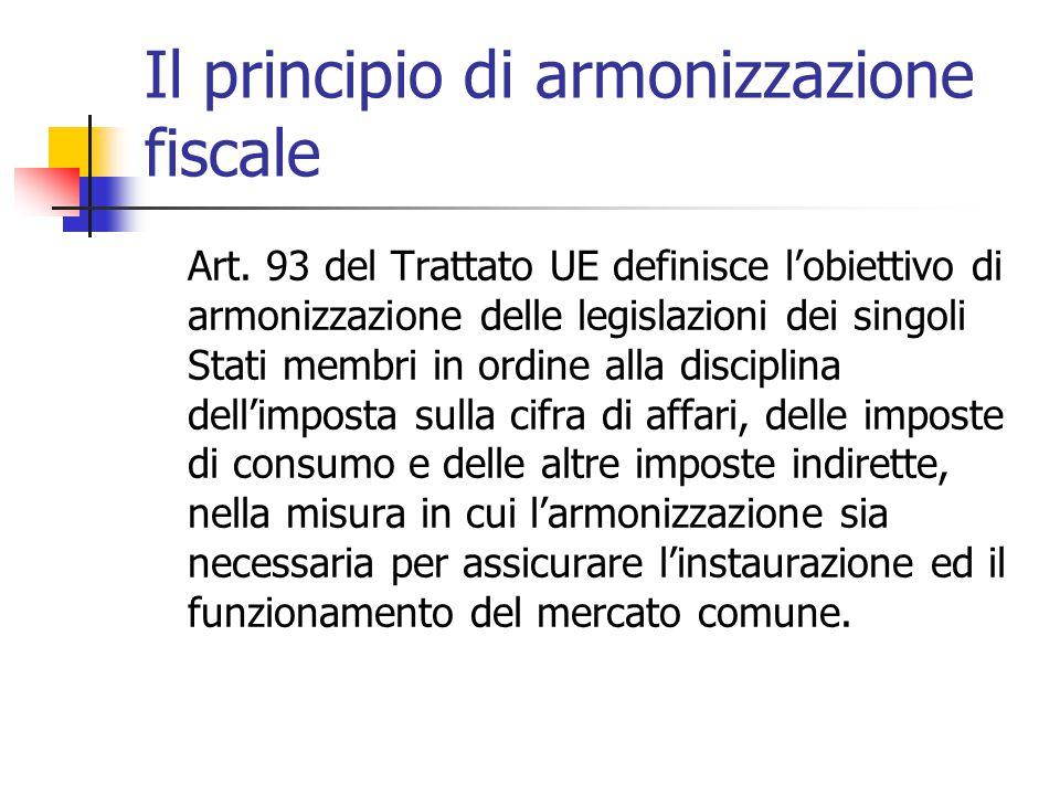 Il principio di armonizzazione fiscale Art. 93 del Trattato UE definisce l'obiettivo di armonizzazione delle legislazioni dei singoli Stati membri in