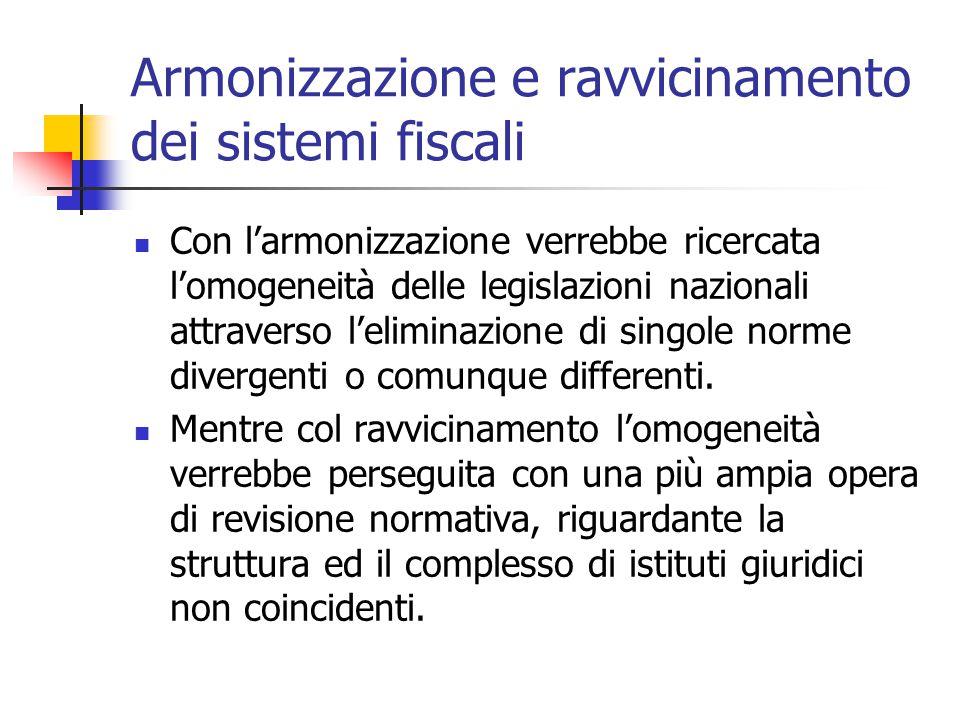 Armonizzazione e ravvicinamento dei sistemi fiscali Con l'armonizzazione verrebbe ricercata l'omogeneità delle legislazioni nazionali attraverso l'eli