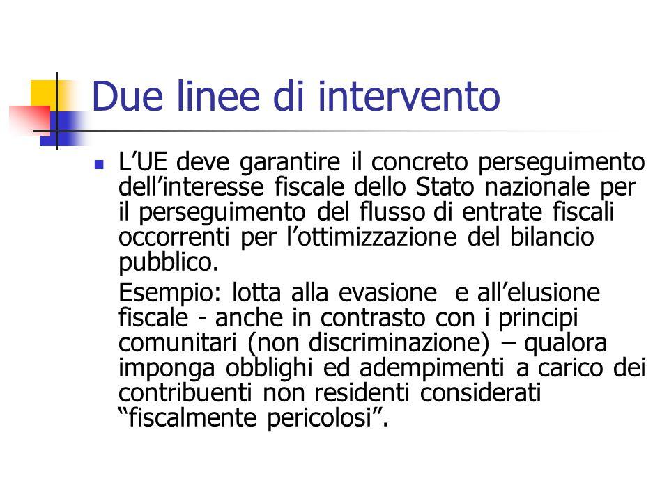 Due linee di intervento L'UE deve garantire il concreto perseguimento dell'interesse fiscale dello Stato nazionale per il perseguimento del flusso di