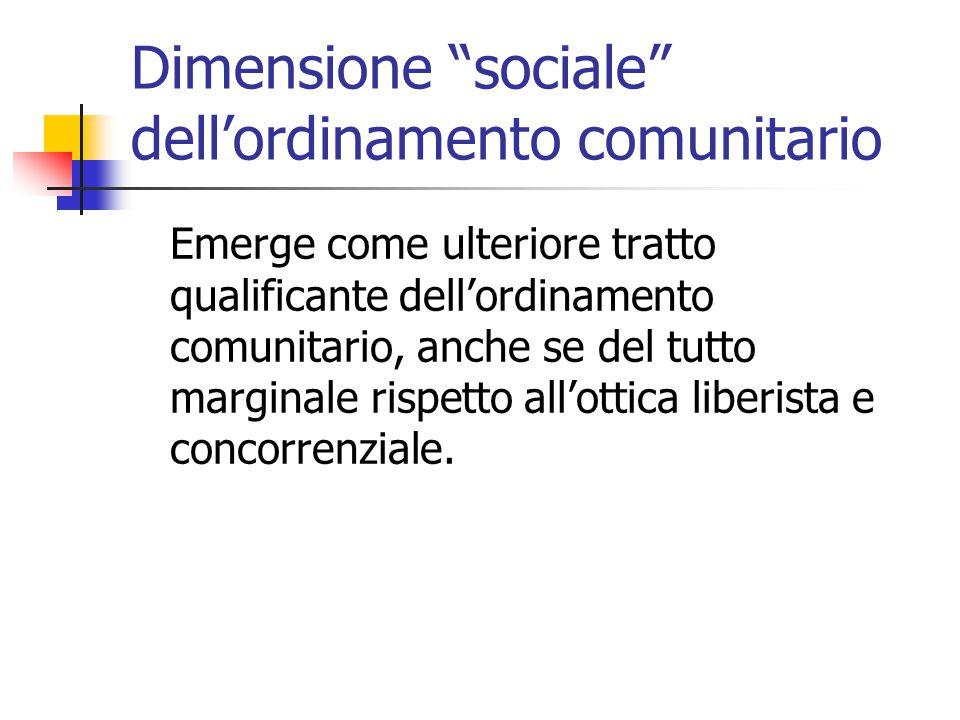 """Dimensione """"sociale"""" dell'ordinamento comunitario Emerge come ulteriore tratto qualificante dell'ordinamento comunitario, anche se del tutto marginale"""