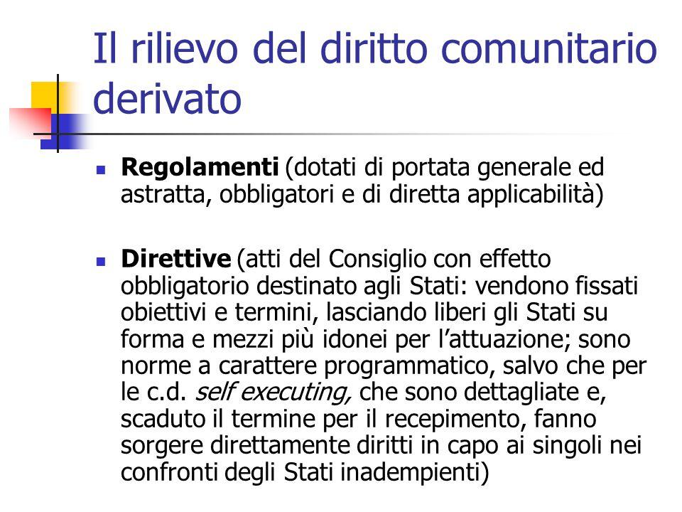 Il rilievo del diritto comunitario derivato Regolamenti (dotati di portata generale ed astratta, obbligatori e di diretta applicabilità) Direttive (at