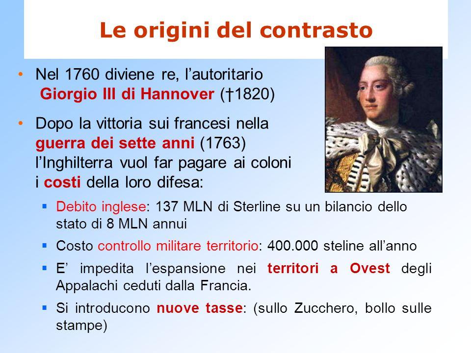 Le origini del contrasto Nel 1760 diviene re, l'autoritario Giorgio III di Hannover (†1820) Dopo la vittoria sui francesi nella guerra dei sette anni
