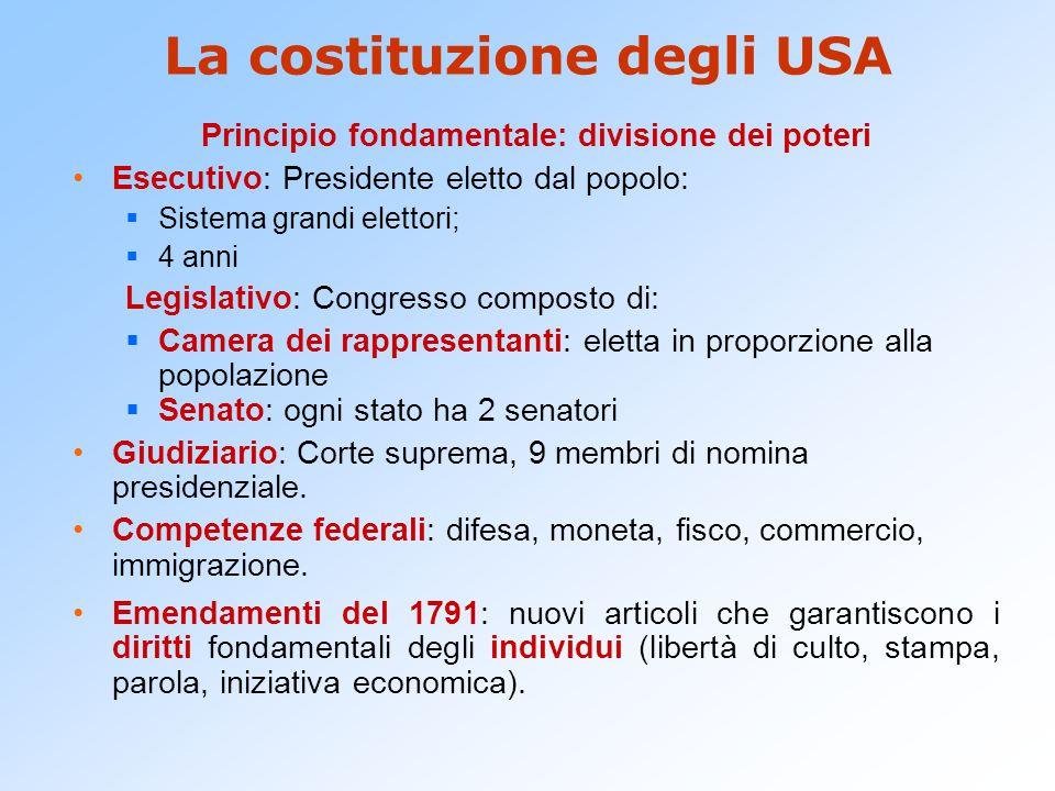La costituzione degli USA Principio fondamentale: divisione dei poteri Esecutivo: Presidente eletto dal popolo:  Sistema grandi elettori;  4 anni Le