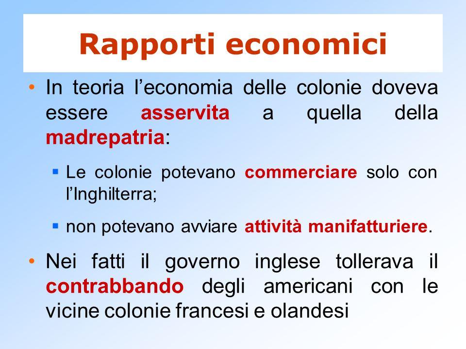 Rapporti economici In teoria l'economia delle colonie doveva essere asservita a quella della madrepatria:  Le colonie potevano commerciare solo con l