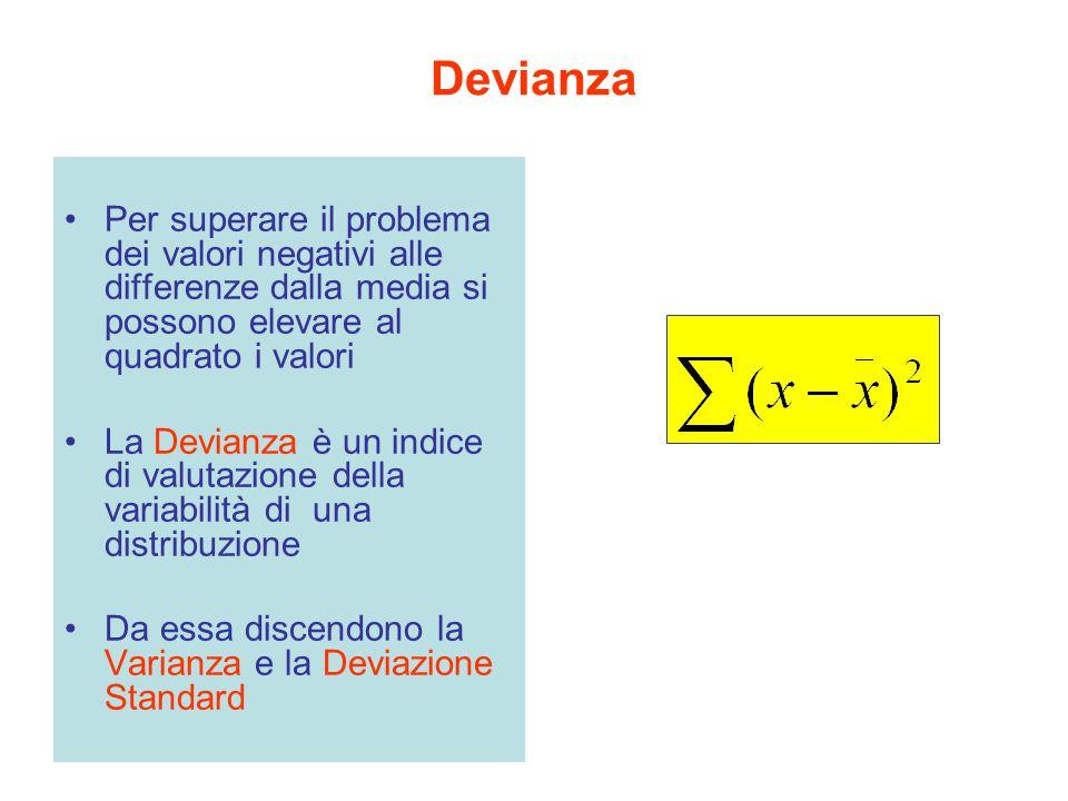 Devianza Per superare il problema dei valori negativi alle differenze dalla media si possono elevare al quadrato i valori La Devianza è un indice di v