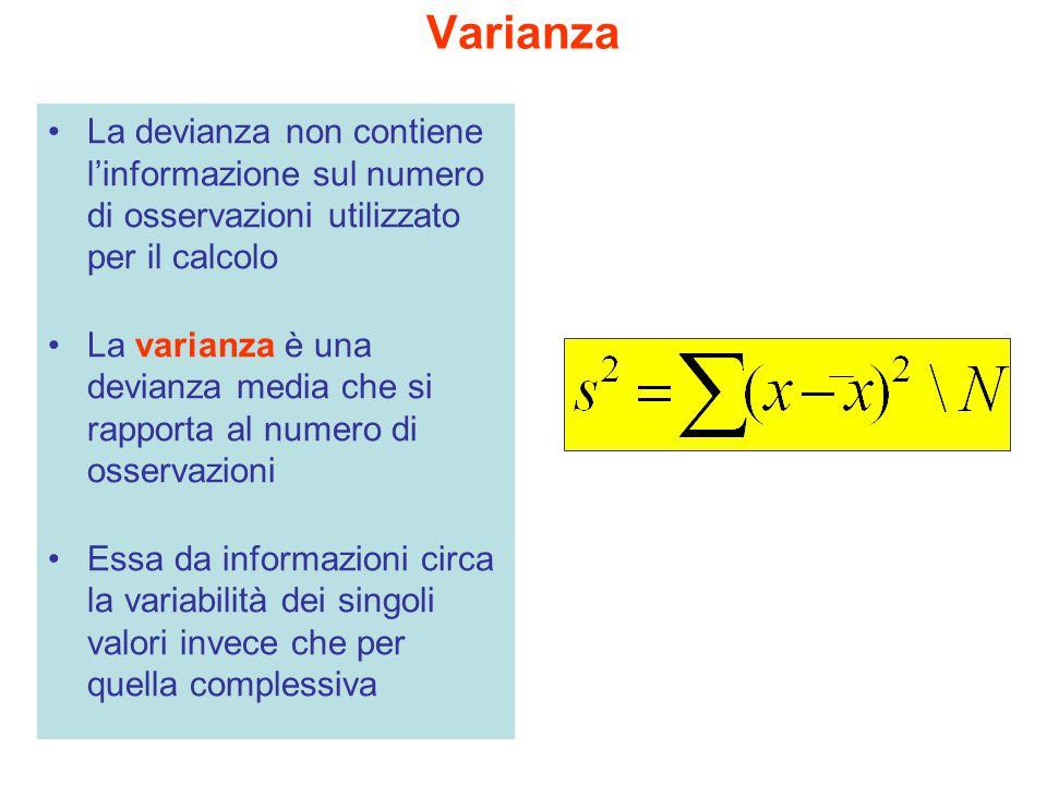 Varianza La devianza non contiene l'informazione sul numero di osservazioni utilizzato per il calcolo La varianza è una devianza media che si rapporta
