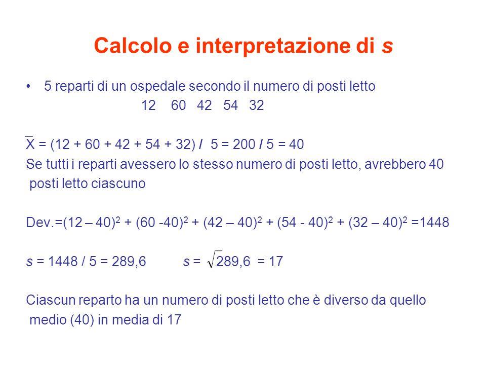Calcolo e interpretazione di s 5 reparti di un ospedale secondo il numero di posti letto 12 60 42 54 32 X = (12 + 60 + 42 + 54 + 32) / 5 = 200 / 5 = 4