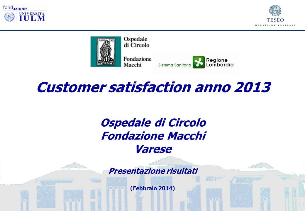 Customer satisfaction anno 2013 Ospedale di Circolo Fondazione Macchi Varese Presentazione risultati (Febbraio 2014)