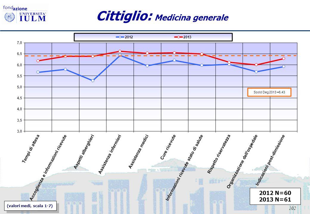 102 Cittiglio: Medicina generale 2012 N=60 2013 N=61 (valori medi, scala 1-7)