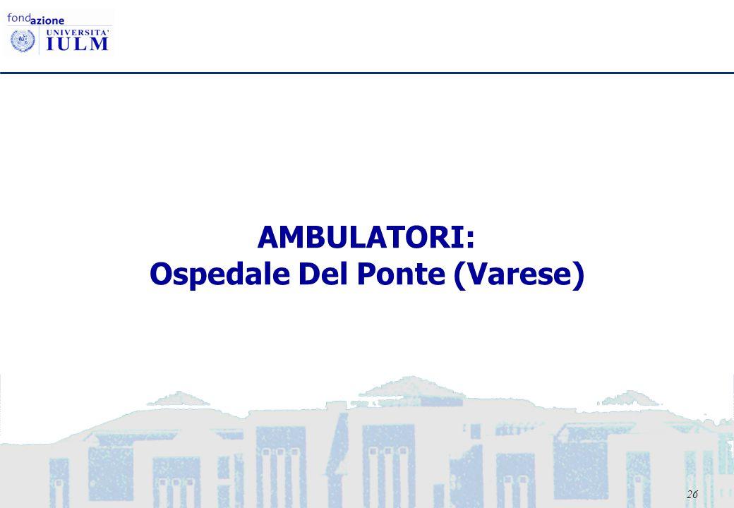 26 AMBULATORI: Ospedale Del Ponte (Varese)
