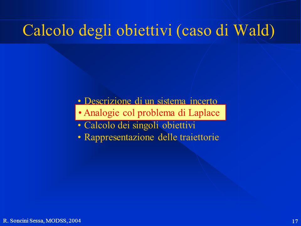 R. Soncini Sessa, MODSS, 2004 17 Descrizione di un sistema incerto Analogie col problema di Laplace Calcolo dei singoli obiettivi Rappresentazione del