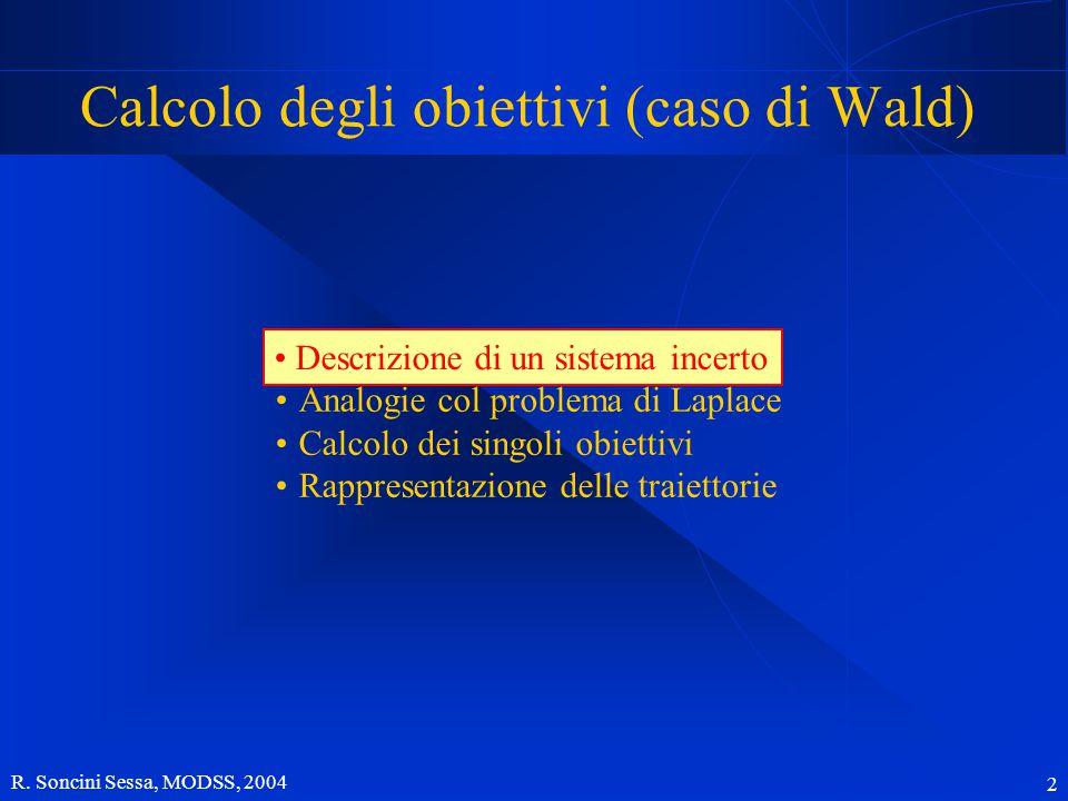 R. Soncini Sessa, MODSS, 2004 2 Calcolo degli obiettivi (caso di Wald) Descrizione di un sistema incerto Analogie col problema di Laplace Calcolo dei