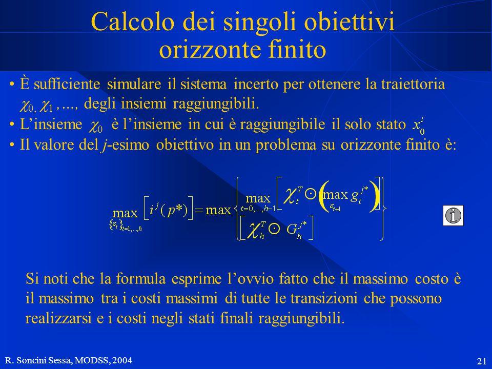 R. Soncini Sessa, MODSS, 2004 21 Calcolo dei singoli obiettivi orizzonte finito Si noti che la formula esprime l'ovvio fatto che il massimo costo è il