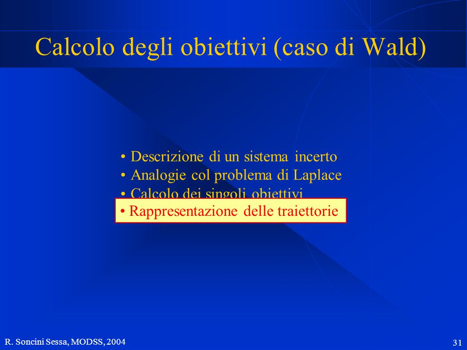 R. Soncini Sessa, MODSS, 2004 31 Descrizione di un sistema incerto Analogie col problema di Laplace Calcolo dei singoli obiettivi Rappresentazione del