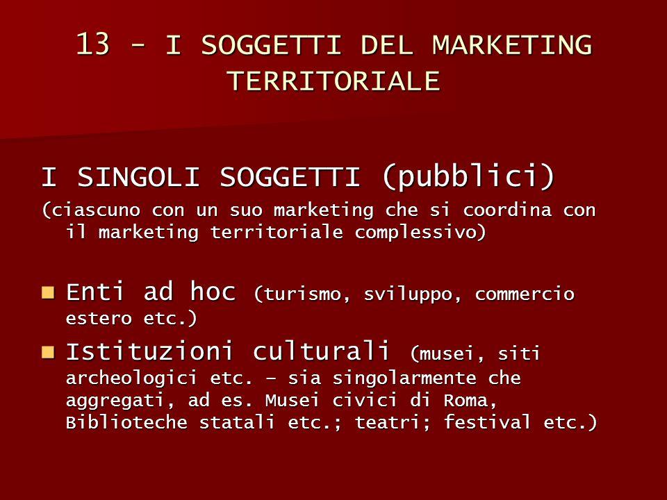 13 - I SOGGETTI DEL MARKETING TERRITORIALE I SINGOLI SOGGETTI (pubblici) (ciascuno con un suo marketing che si coordina con il marketing territoriale