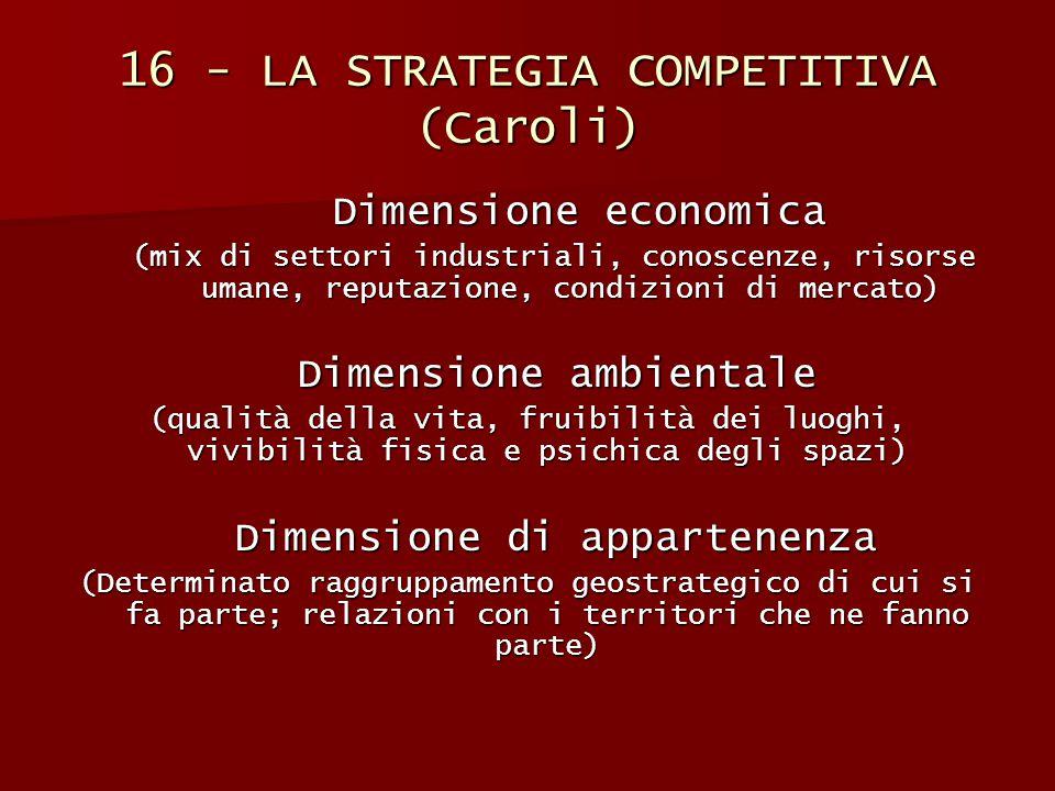 16 - LA STRATEGIA COMPETITIVA (Caroli) Dimensione economica (mix di settori industriali, conoscenze, risorse umane, reputazione, condizioni di mercato