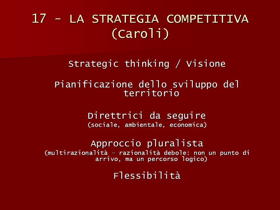 17 - LA STRATEGIA COMPETITIVA (Caroli) Strategic thinking / Visione Pianificazione dello sviluppo del territorio Direttrici da seguire (sociale, ambie