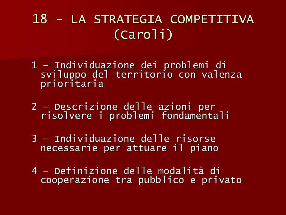 18 - LA STRATEGIA COMPETITIVA (Caroli) 1 – Individuazione dei problemi di sviluppo del territorio con valenza prioritaria 2 – Descrizione delle azioni