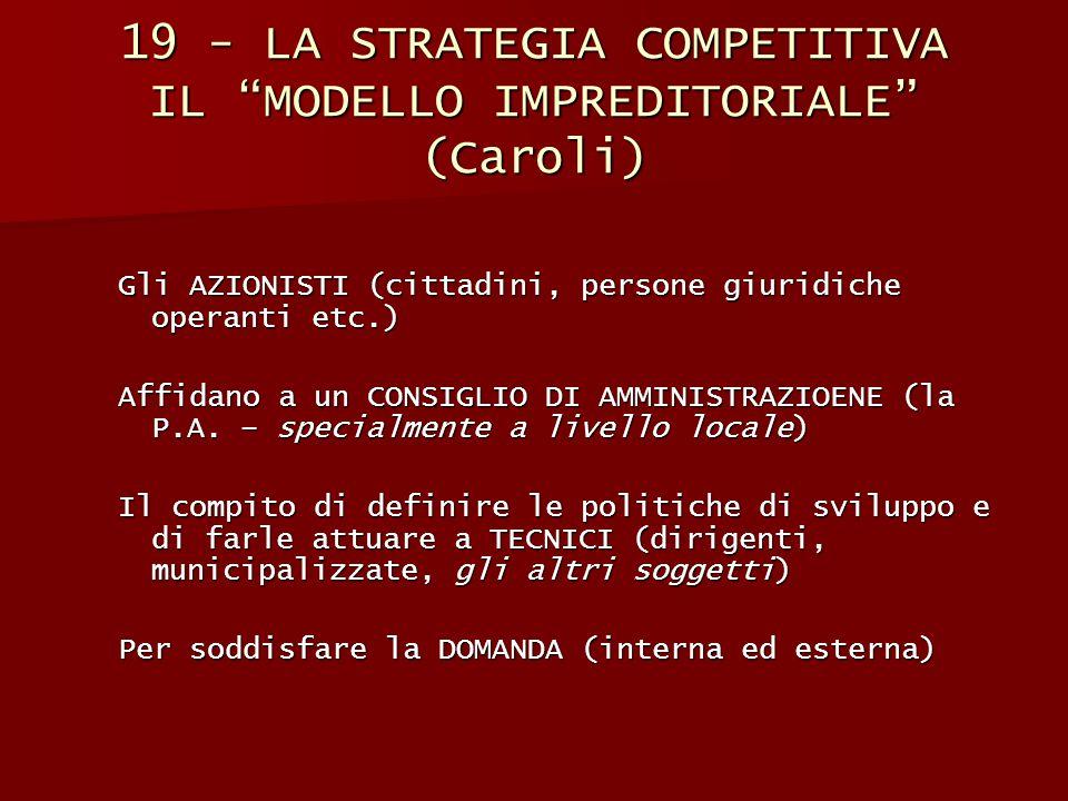 """19 - LA STRATEGIA COMPETITIVA IL """"MODELLO IMPREDITORIALE"""" (Caroli) Gli AZIONISTI (cittadini, persone giuridiche operanti etc.) Affidano a un CONSIGLIO"""