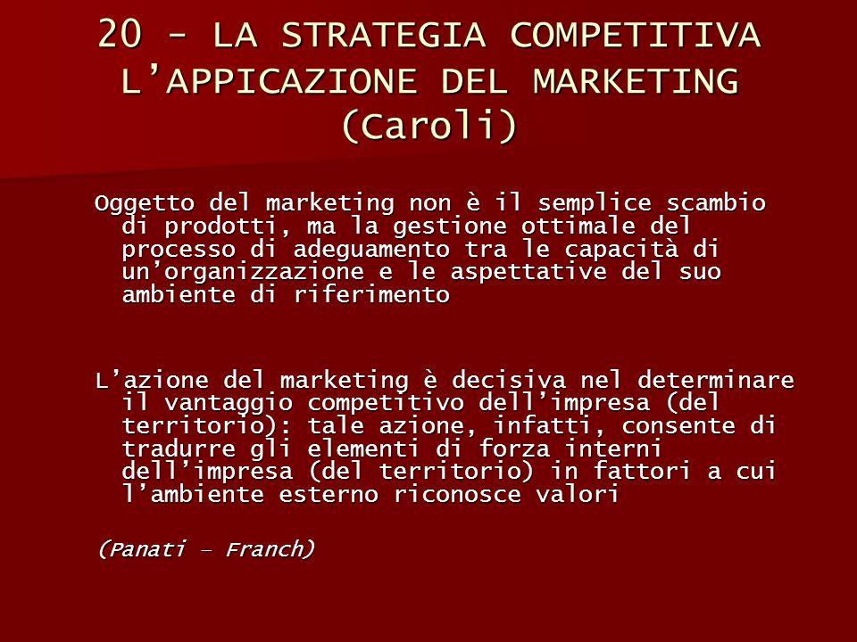 20 - LA STRATEGIA COMPETITIVA L'APPICAZIONE DEL MARKETING (Caroli) Oggetto del marketing non è il semplice scambio di prodotti, ma la gestione ottimal