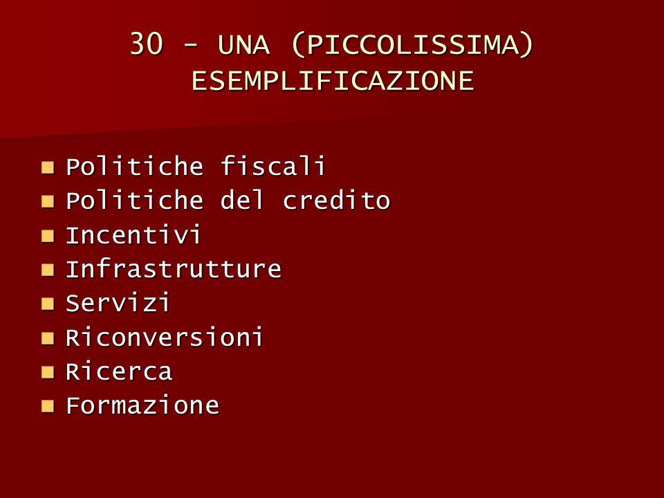 30 - UNA (PICCOLISSIMA) ESEMPLIFICAZIONE Politiche fiscali Politiche fiscali Politiche del credito Politiche del credito Incentivi Incentivi Infrastru