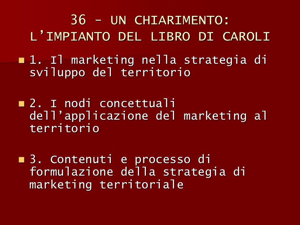 36 - UN CHIARIMENTO: L'IMPIANTO DEL LIBRO DI CAROLI 1. Il marketing nella strategia di sviluppo del territorio 1. Il marketing nella strategia di svil